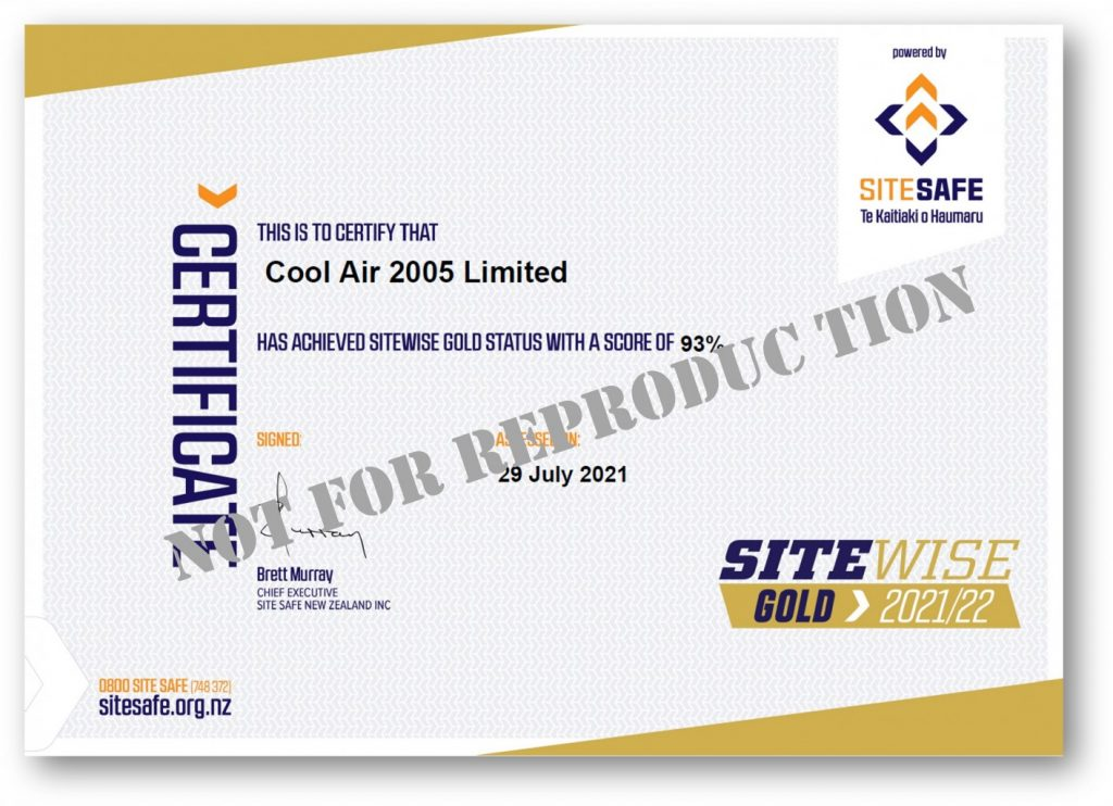 Cool Air, heat pump and refrigeration specialists in Timaru get gold certification